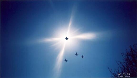 The Missing Man Formation flown for the Columbia astronauts, March 2, 2004.